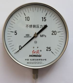 250mm Lower Mount Stainless Steel Manometer M20*1.5,G1/2'',1/2'' NPT ±1.6% Accuracy