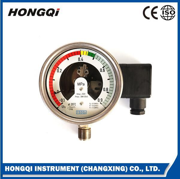 All Stainless Steel Oil Filled Electric Contact Gas Pressure Gauge
